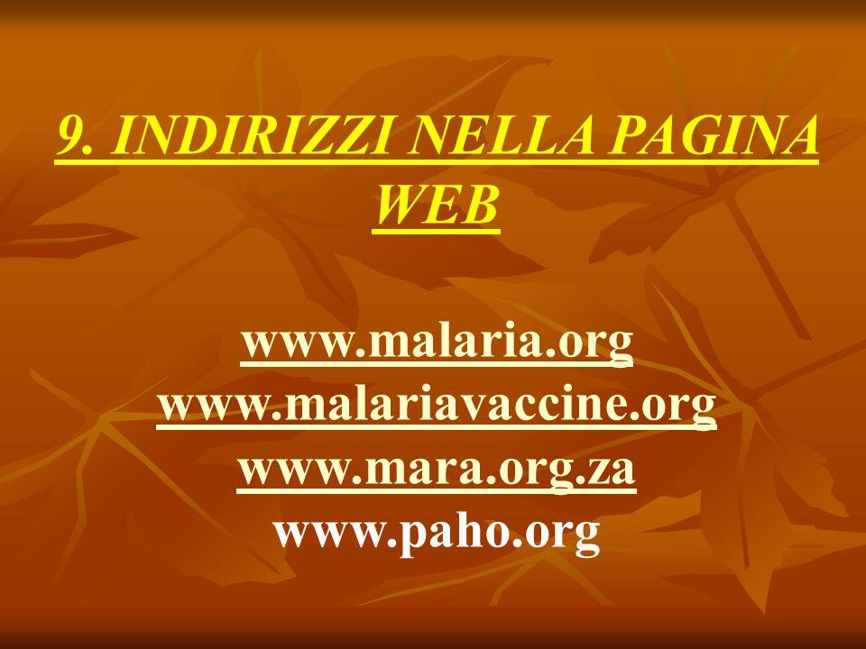9. INDIRIZZI NELLA PAGINA WEB www.malaria.org www.malariavaccine.org www.mara.org.za www.paho.org
