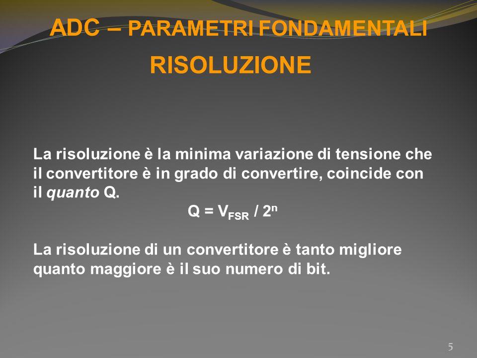 ADC – PARAMETRI FONDAMENTALI 5 RISOLUZIONE La risoluzione è la minima variazione di tensione che il convertitore è in grado di convertire, coincide co