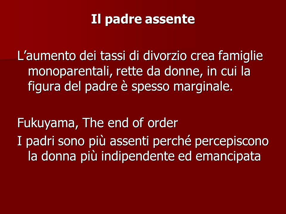 Il padre assente L'aumento dei tassi di divorzio crea famiglie monoparentali, rette da donne, in cui la figura del padre è spesso marginale.