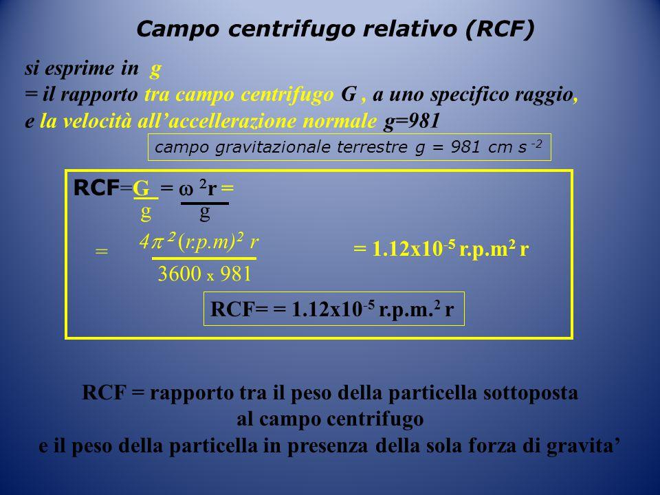 RCF = rapporto tra il peso della particella sottoposta al campo centrifugo e il peso della particella in presenza della sola forza di gravita' Campo c