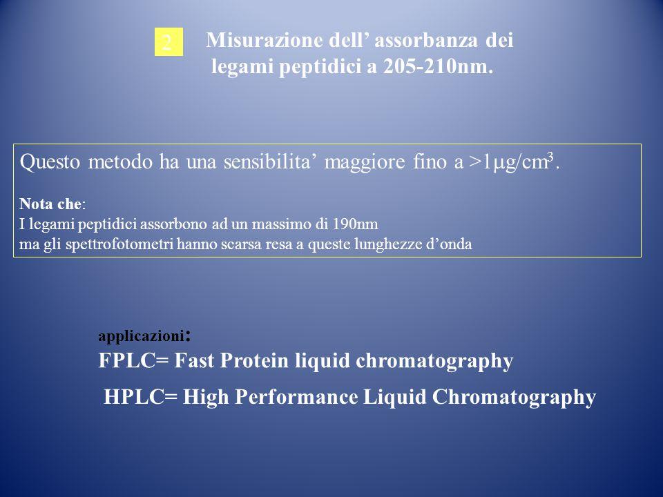 2 Misurazione dell' assorbanza dei legami peptidici a 205-210nm. Questo metodo ha una sensibilita' maggiore fino a >1  g/cm 3. Nota che: I legami pep