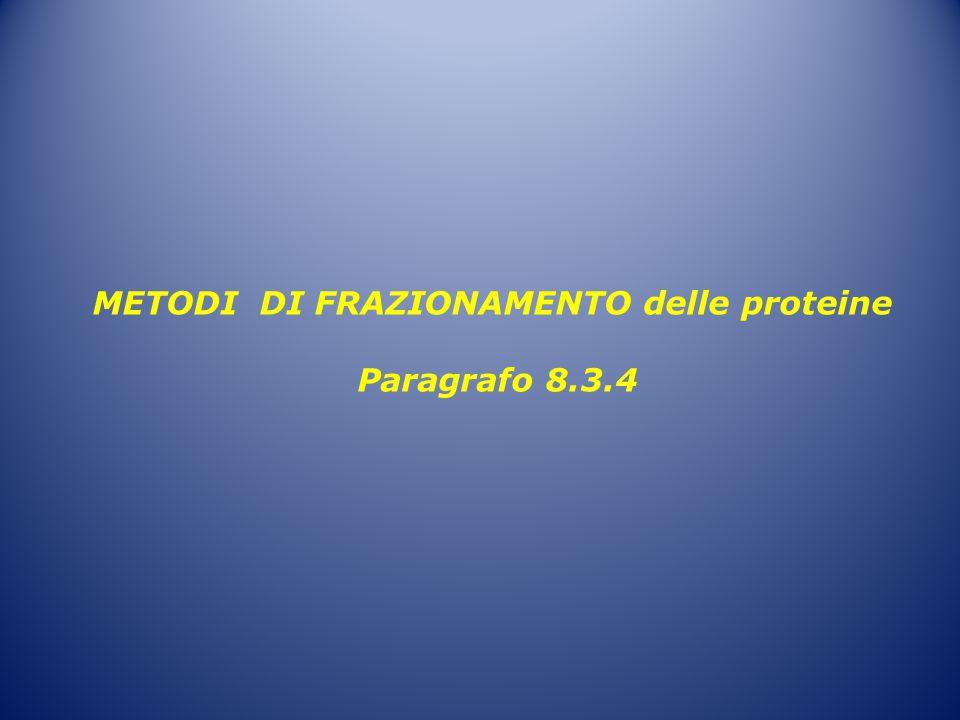 METODI DI FRAZIONAMENTO delle proteine Paragrafo 8.3.4