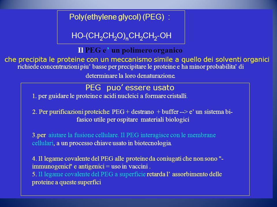 IlPEG e'un polimero organico che precipita le proteine con un meccanismo simile a quello dei solventi organici richiede concentrazionipiu'basse per pr