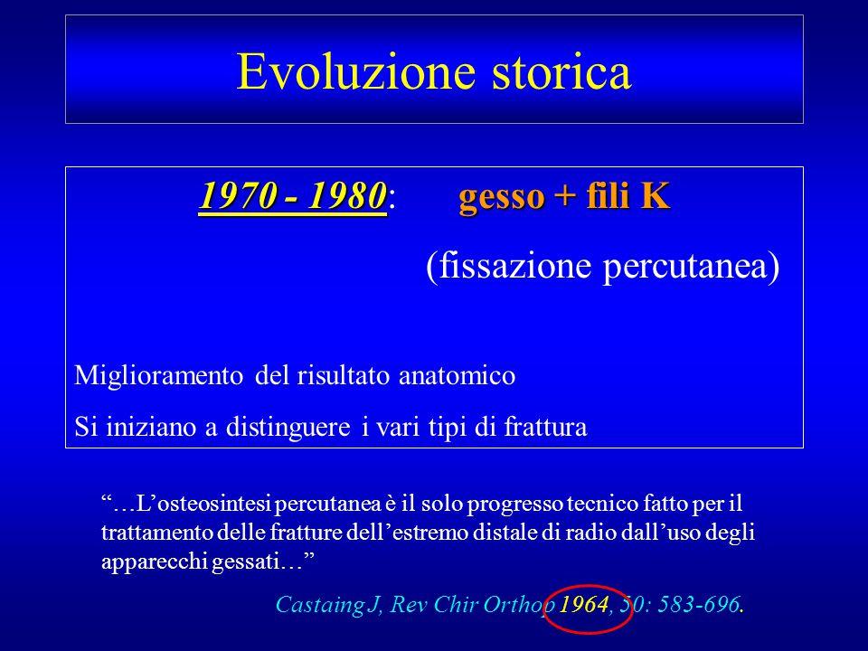 Evoluzione storica 1970 - 1980gesso + fili K 1970 - 1980: gesso + fili K (fissazione percutanea) Miglioramento del risultato anatomico Si iniziano a d