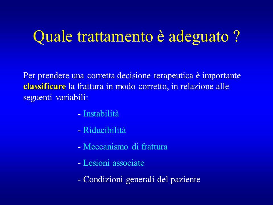 Quale trattamento è adeguato ? classificare Per prendere una corretta decisione terapeutica è importante classificare la frattura in modo corretto, in