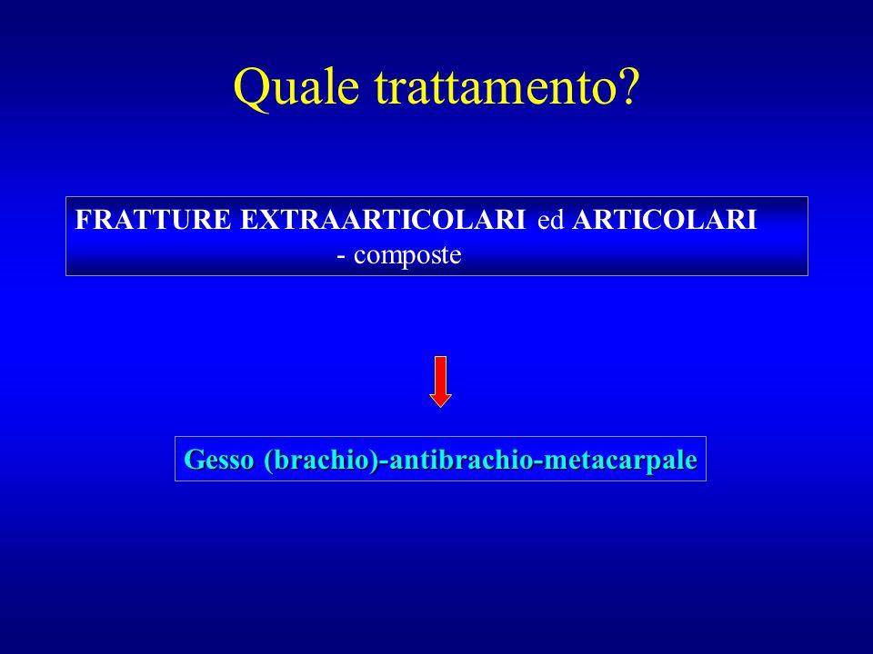 Quale trattamento? FRATTURE EXTRAARTICOLARI ed ARTICOLARI - composte Gesso (brachio)-antibrachio-metacarpale