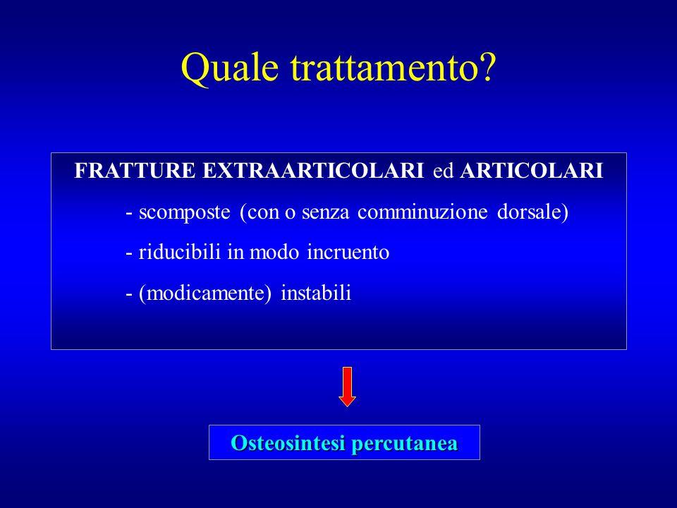 Quale trattamento? FRATTURE EXTRAARTICOLARI ed ARTICOLARI - scomposte (con o senza comminuzione dorsale) - riducibili in modo incruento - (modicamente
