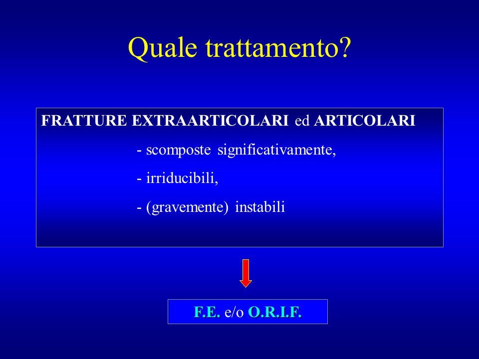 Quale trattamento? FRATTURE EXTRAARTICOLARI ed ARTICOLARI - scomposte significativamente, - irriducibili, - (gravemente) instabili F.E.O.R.I.F. F.E. e