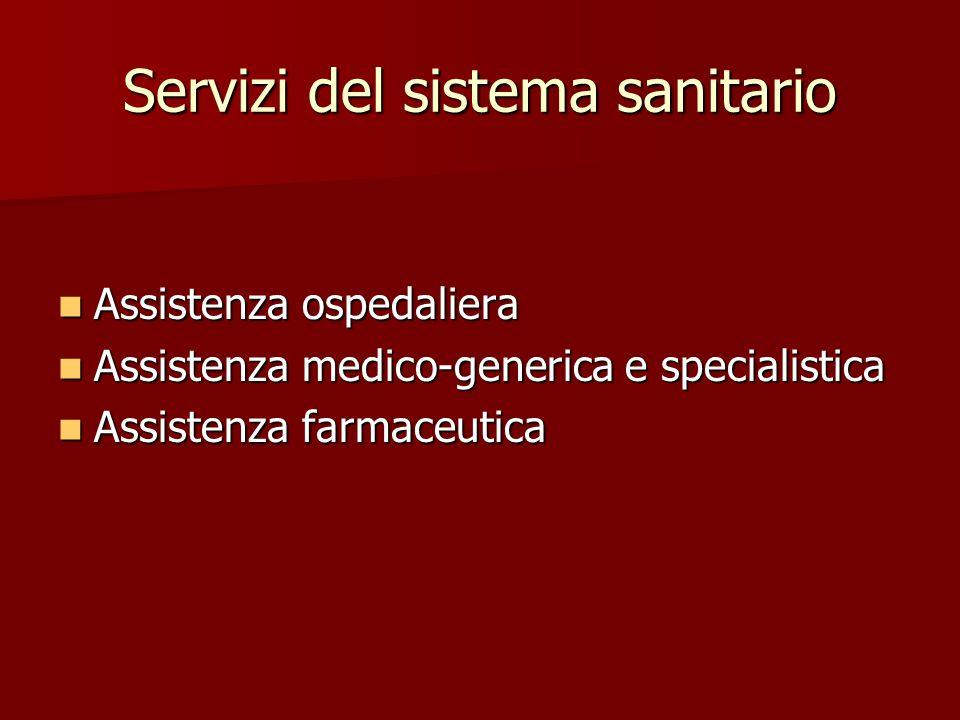 Servizi del sistema sanitario Assistenza ospedaliera Assistenza ospedaliera Assistenza medico-generica e specialistica Assistenza medico-generica e sp