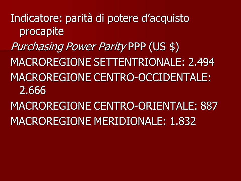 Indicatore: parità di potere d'acquisto procapite Purchasing Power Parity PPP (US $) MACROREGIONE SETTENTRIONALE: 2.494 MACROREGIONE CENTRO-OCCIDENTAL