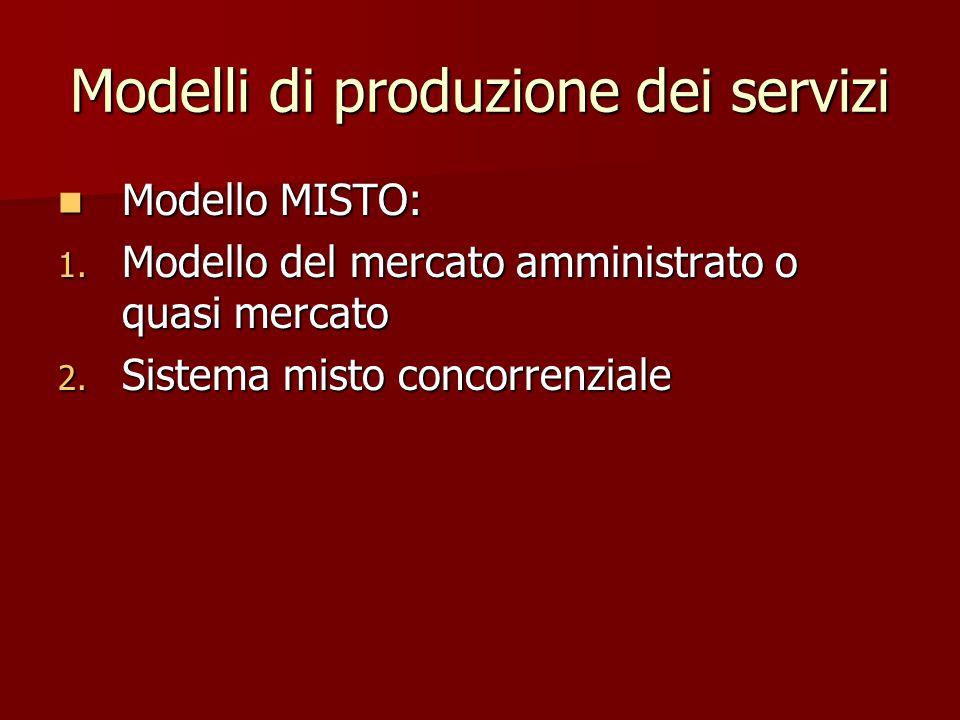 Modelli di produzione dei servizi Modello MISTO: Modello MISTO: 1. Modello del mercato amministrato o quasi mercato 2. Sistema misto concorrenziale