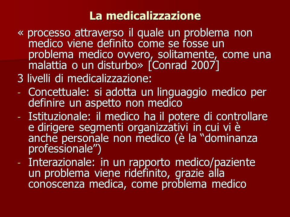 La medicalizzazione « processo attraverso il quale un problema non medico viene definito come se fosse un problema medico ovvero, solitamente, come un