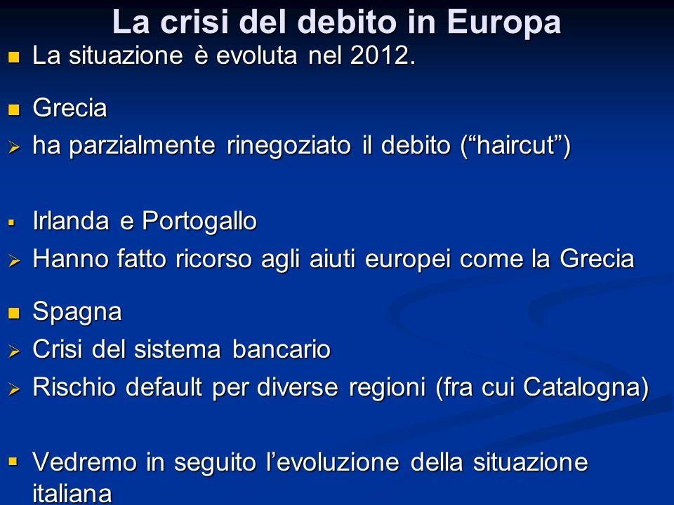 La crisi del debito in Europa La situazione è evoluta nel 2012. La situazione è evoluta nel 2012. Grecia Grecia  ha parzialmente rinegoziato il debit