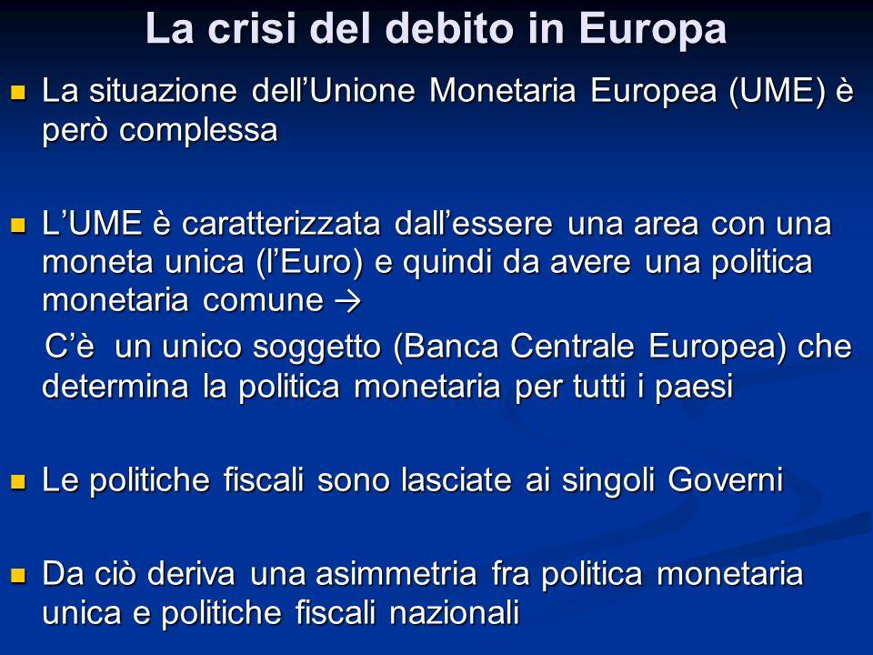 La crisi del debito in Europa La situazione dell'Unione Monetaria Europea (UME) è però complessa La situazione dell'Unione Monetaria Europea (UME) è p