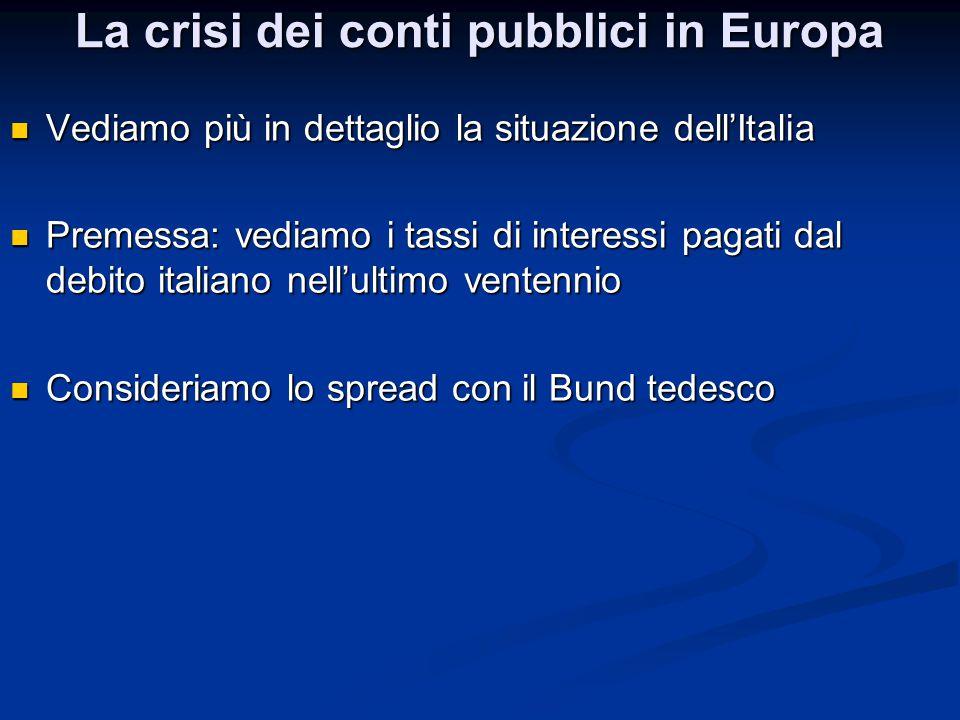 La crisi dei conti pubblici in Europa Vediamo più in dettaglio la situazione dell'Italia Vediamo più in dettaglio la situazione dell'Italia Premessa: