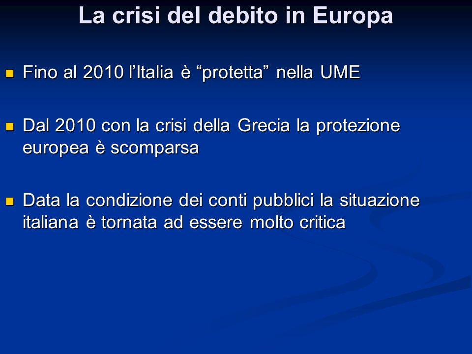 """La crisi del debito in Europa Fino al 2010 l'Italia è """"protetta"""" nella UME Fino al 2010 l'Italia è """"protetta"""" nella UME Dal 2010 con la crisi della Gr"""
