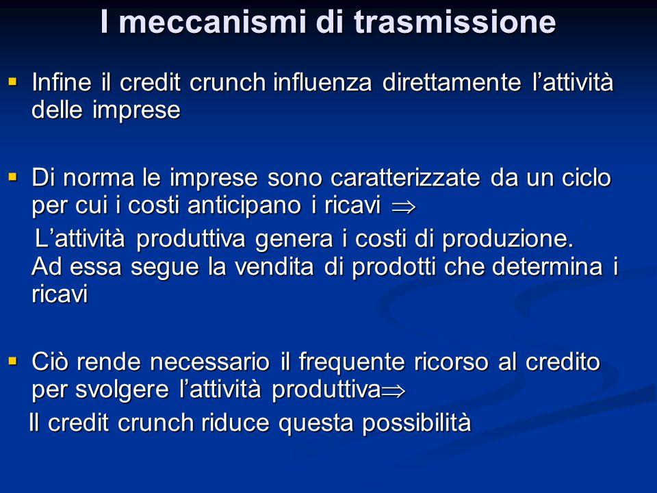 I meccanismi di trasmissione  Infine il credit crunch influenza direttamente l'attività delle imprese  Di norma le imprese sono caratterizzate da un