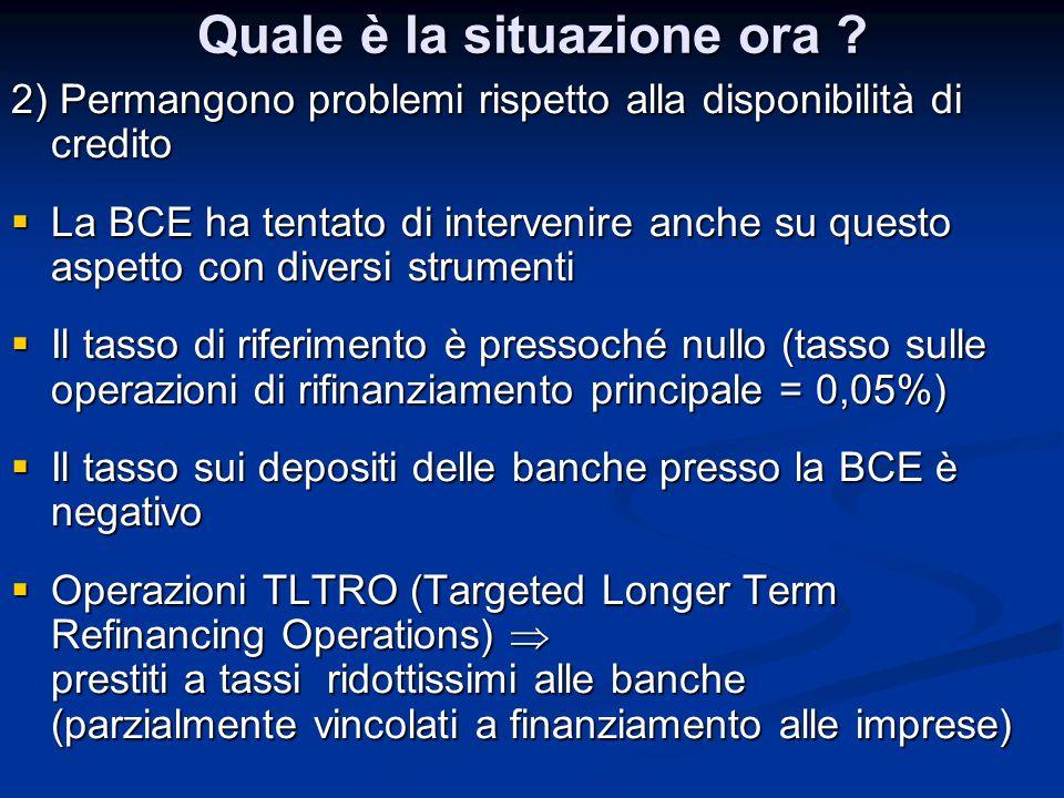 Quale è la situazione ora ? 2) Permangono problemi rispetto alla disponibilità di credito  La BCE ha tentato di intervenire anche su questo aspetto c