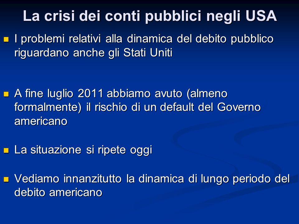 La crisi dei conti pubblici negli USA I problemi relativi alla dinamica del debito pubblico riguardano anche gli Stati Uniti I problemi relativi alla