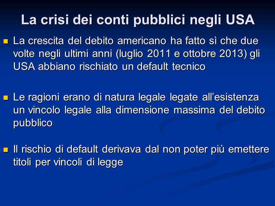 La crisi dei conti pubblici negli USA La crescita del debito americano ha fatto sì che due volte negli ultimi anni (luglio 2011 e ottobre 2013) gli US