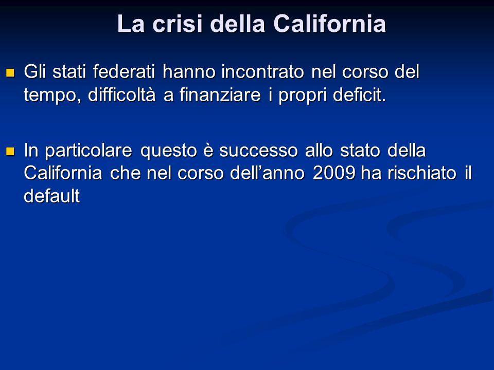 Gli stati federati hanno incontrato nel corso del tempo, difficoltà a finanziare i propri deficit. Gli stati federati hanno incontrato nel corso del t