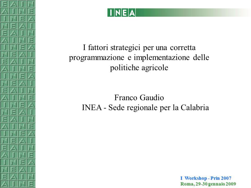 I Workshop - Prin 2007 Roma, 29-30 gennaio 2009 I fattori strategici per una corretta programmazione e implementazione delle politiche agricole Franco Gaudio INEA - Sede regionale per la Calabria