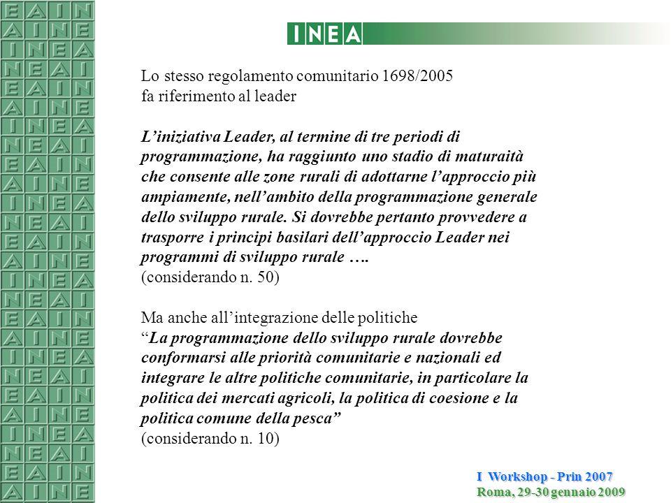 I Workshop - Prin 2007 Roma, 29-30 gennaio 2009 È sempre stata una iniziativa comunitaria LEADER II LEADER I Interventi ammissibili tutti quelli previsti dai fondi strutturali (FEOGA, FESR, FSE) Diventa un asse del programma Finanziata dal FEASR Asse IV Interventi ammissibili solo quelli previsti dal FEASR LEADER + L'approccio Leader