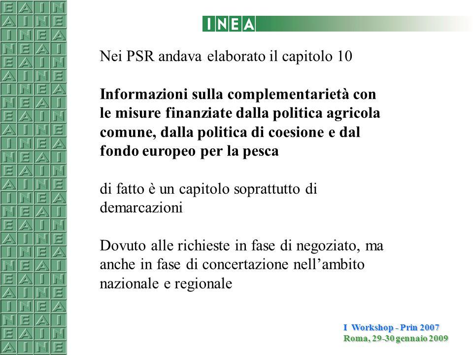 I Workshop - Prin 2007 Roma, 29-30 gennaio 2009 Nei PSR andava elaborato il capitolo 10 Informazioni sulla complementarietà con le misure finanziate dalla politica agricola comune, dalla politica di coesione e dal fondo europeo per la pesca di fatto è un capitolo soprattutto di demarcazioni Dovuto alle richieste in fase di negoziato, ma anche in fase di concertazione nell'ambito nazionale e regionale