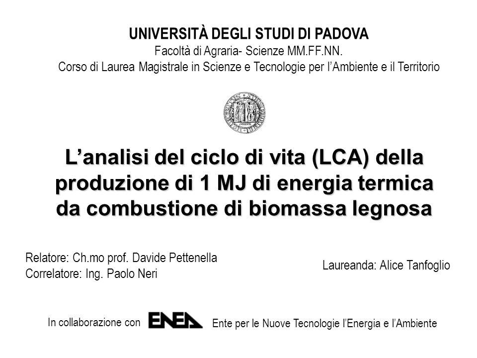 UNIVERSITÀ DEGLI STUDI DI PADOVA Facoltà di Agraria- Scienze MM.FF.NN.