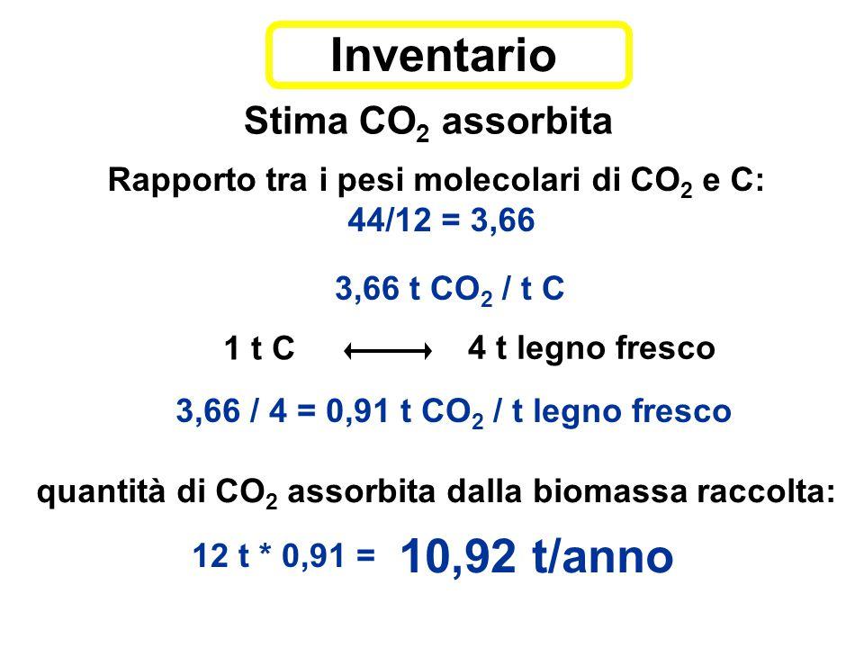 Stima CO 2 assorbita 10,92 t/anno Rapporto tra i pesi molecolari di CO 2 e C: 44/12 = 3,66 3,66 / 4 = 0,91 t CO 2 / t legno fresco 3,66 t CO 2 / t C 1 t C 4 t legno fresco quantità di CO 2 assorbita dalla biomassa raccolta: Inventario 12 t * 0,91 =