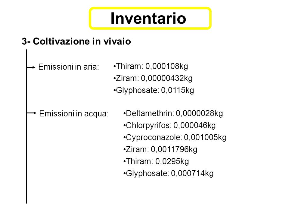 3- Coltivazione in vivaio Emissioni in aria: Thiram: 0,000108kg Ziram: 0,00000432kg Glyphosate: 0,0115kg Emissioni in acqua: Deltamethrin: 0,0000028kg Chlorpyrifos: 0,000046kg Cyproconazole: 0,001005kg Ziram: 0,0011796kg Thiram: 0,0295kg Glyphosate: 0,000714kg Inventario