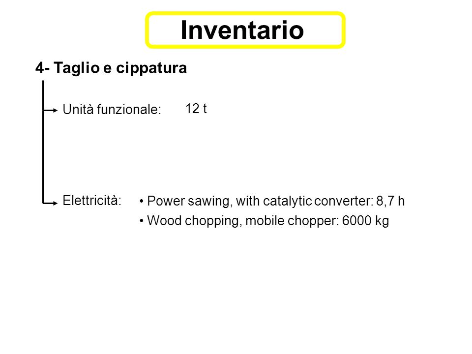 4- Taglio e cippatura Unità funzionale: 12 t Elettricità: Power sawing, with catalytic converter: 8,7 h Wood chopping, mobile chopper: 6000 kg Inventario