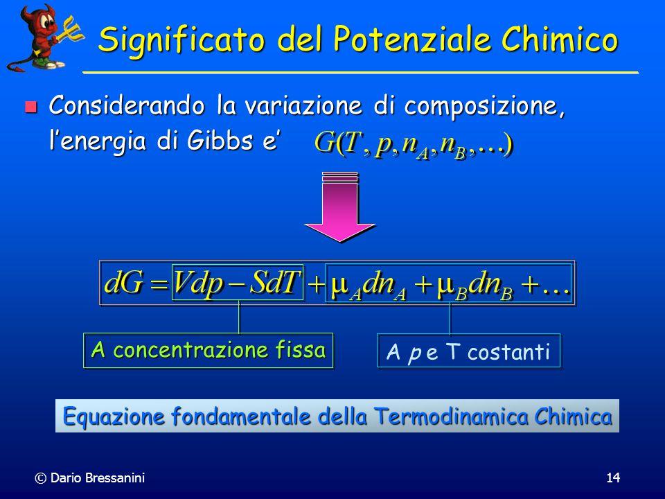 © Dario Bressanini13 Energia di Gibbs Molare Parziale Il Concetto di grandezza molare parziale puo' venire esteso a tutte le funzioni termodinamiche I