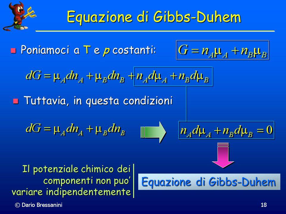 © Dario Bressanini17 Significato del Potenziale Chimico Poiche' U = G –pV + TS Poiche' U = G –pV + TS