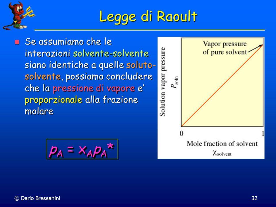 © Dario Bressanini31 Legge di Raoult Aggiungendo del soluto non volatile ad una soluzione di liquido volatile, la pressione di vapore diminuisce Aggiu