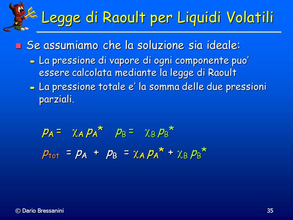 © Dario Bressanini34 Soluzione di due Liquidi Volatili Consideriamo ora due liquidi volatili. Consideriamo ora due liquidi volatili. Entrambi hanno un