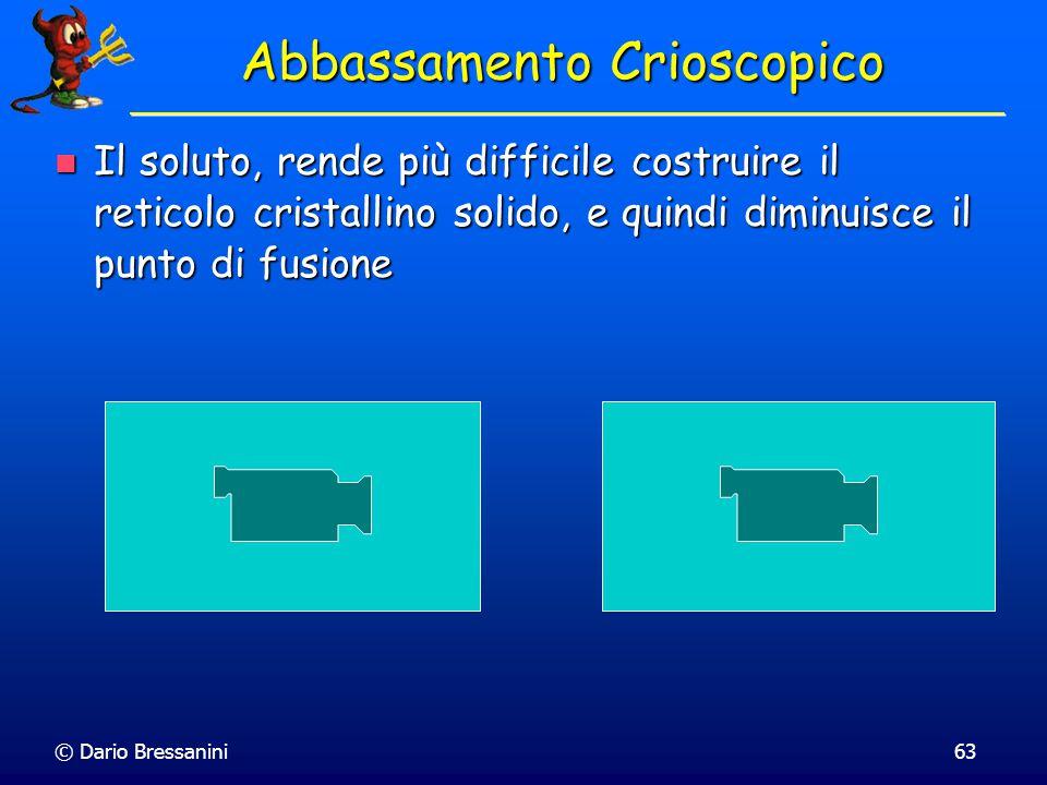 © Dario Bressanini62 Innalzamento Ebullioscopico Se assummiamo che il soluto B non si sciolga nel solido è possibile valutare abbassamento del punto d