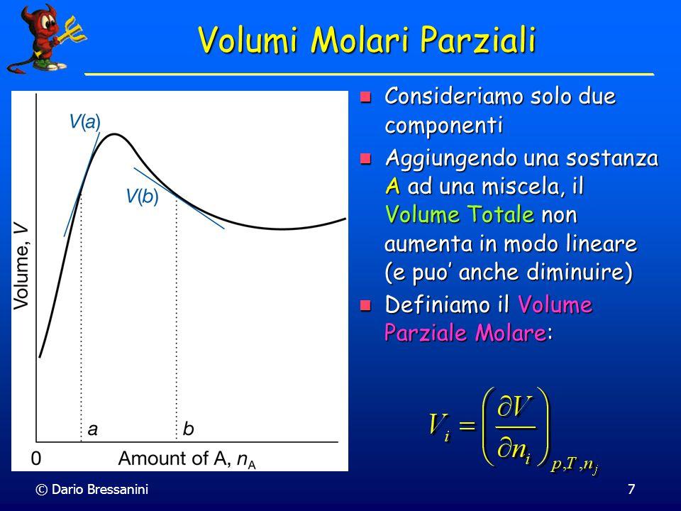 © Dario Bressanini7 Volumi Molari Parziali Consideriamo solo due componenti Consideriamo solo due componenti Aggiungendo una sostanza A ad una miscela, il Volume Totale non aumenta in modo lineare (e puo' anche diminuire) Aggiungendo una sostanza A ad una miscela, il Volume Totale non aumenta in modo lineare (e puo' anche diminuire) Definiamo il Volume Parziale Molare: Definiamo il Volume Parziale Molare: