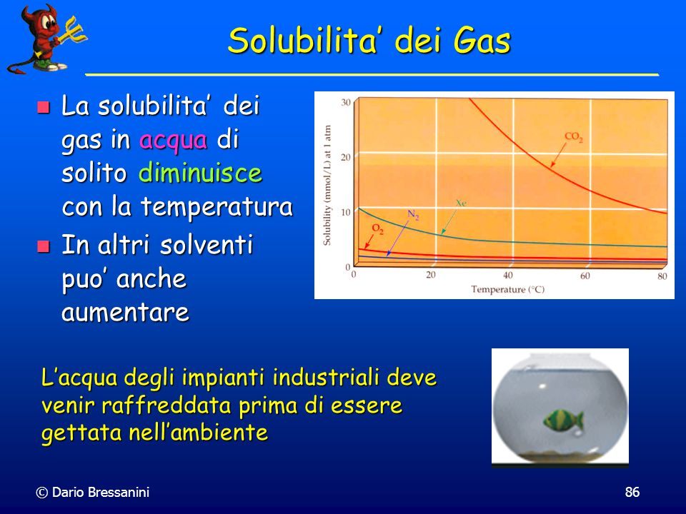 © Dario Bressanini85 Solubilita' dei Solidi Alcuni sali hanno una entalpia di soluzione negativa e quindi diminuiscono la loro solubilita' all'aumenta