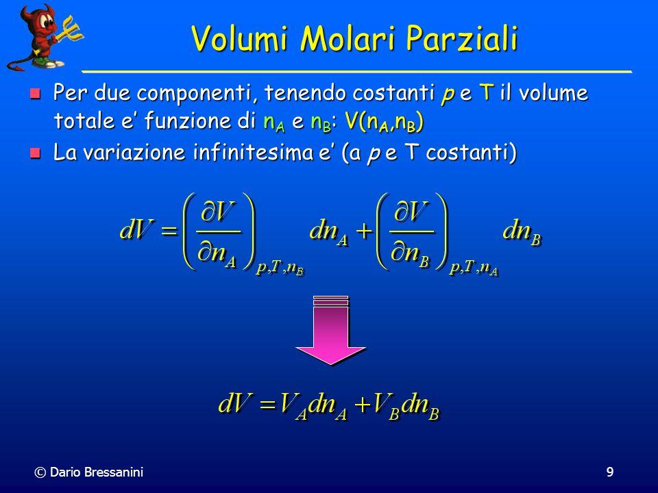 © Dario Bressanini9 Volumi Molari Parziali Per due componenti, tenendo costanti p e T il volume totale e' funzione di n A e n B : V(n A,n B ) Per due componenti, tenendo costanti p e T il volume totale e' funzione di n A e n B : V(n A,n B ) La variazione infinitesima e' (a p e T costanti) La variazione infinitesima e' (a p e T costanti)