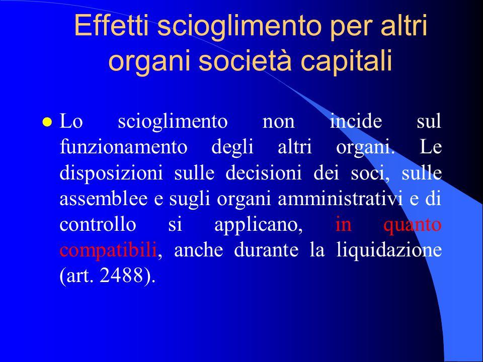 Effetti scioglimento per altri organi società capitali l Lo scioglimento non incide sul funzionamento degli altri organi. Le disposizioni sulle decisi