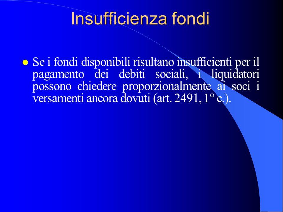 Insufficienza fondi l Se i fondi disponibili risultano insufficienti per il pagamento dei debiti sociali, i liquidatori possono chiedere proporzionalm