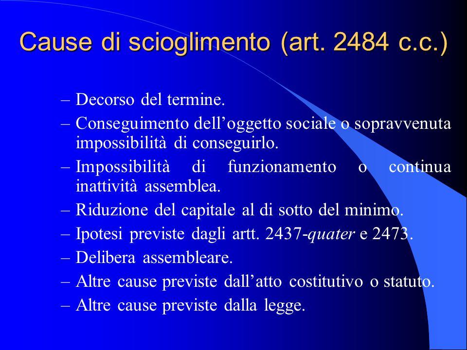 Cause di scioglimento (art. 2484 c.c.) –Decorso del termine. –Conseguimento dell'oggetto sociale o sopravvenuta impossibilità di conseguirlo. –Impossi