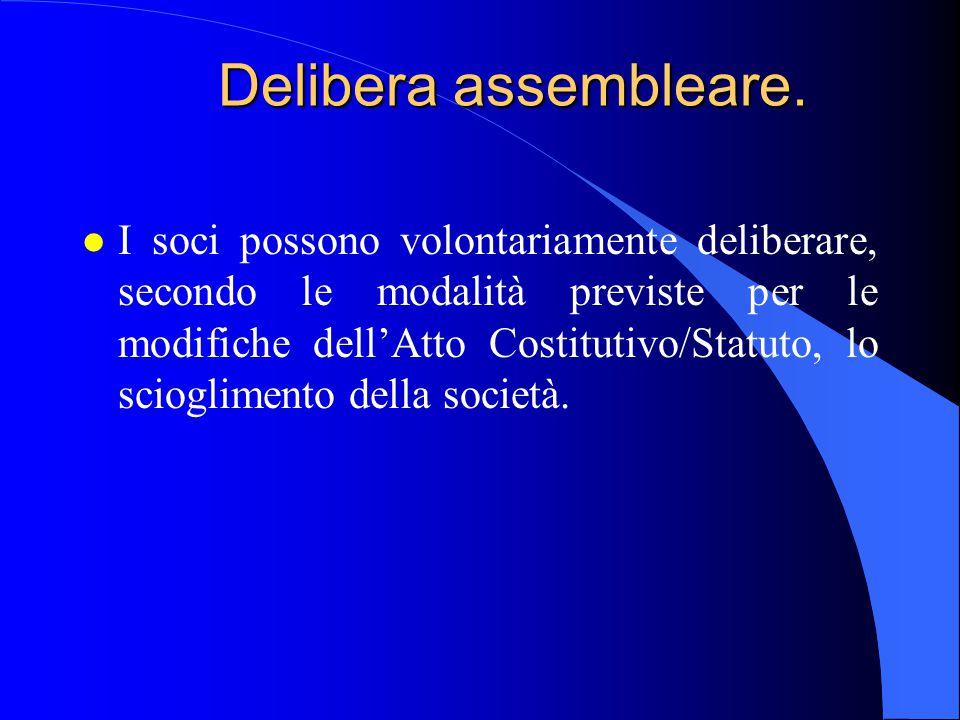 Delibera assembleare. l I soci possono volontariamente deliberare, secondo le modalità previste per le modifiche dell'Atto Costitutivo/Statuto, lo sci
