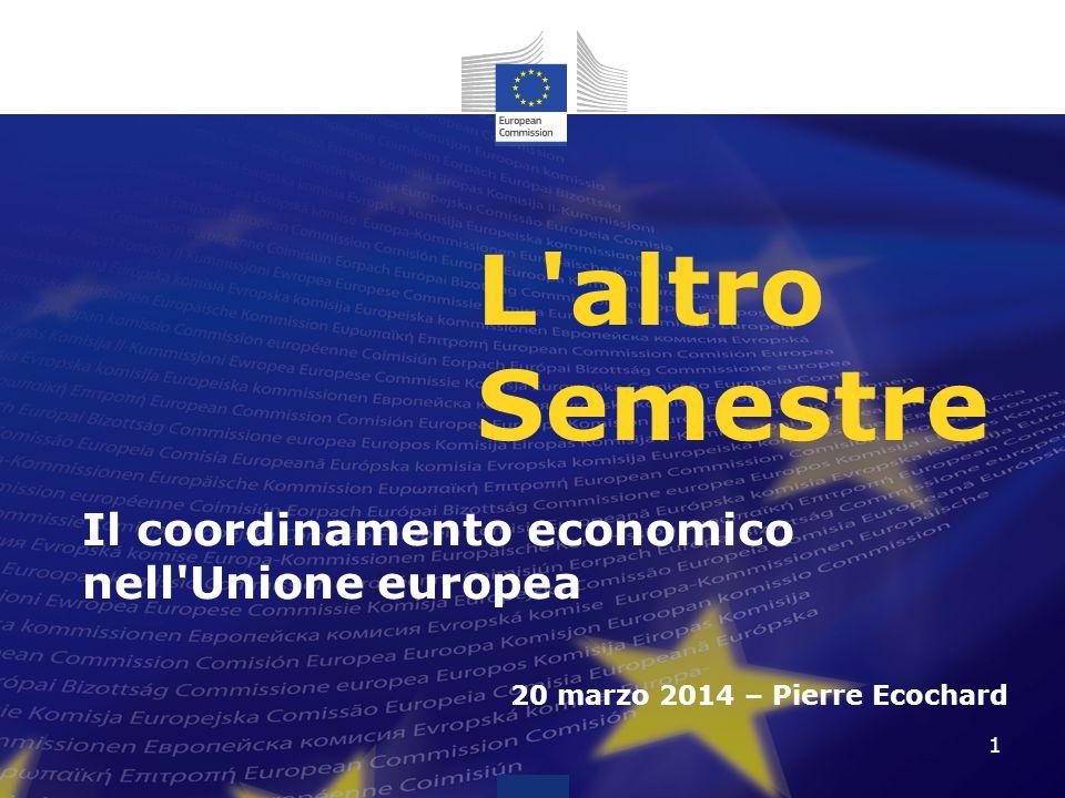 L altro Semestre Il coordinamento economico nell Unione europea 20 marzo 2014 – Pierre Ecochard 1