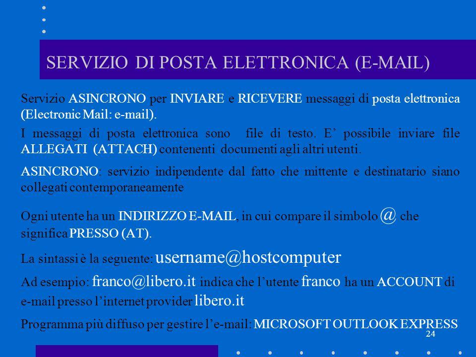 24 SERVIZIO DI POSTA ELETTRONICA (E-MAIL) Servizio ASINCRONO per INVIARE e RICEVERE messaggi di posta elettronica (Electronic Mail: e-mail). I messagg