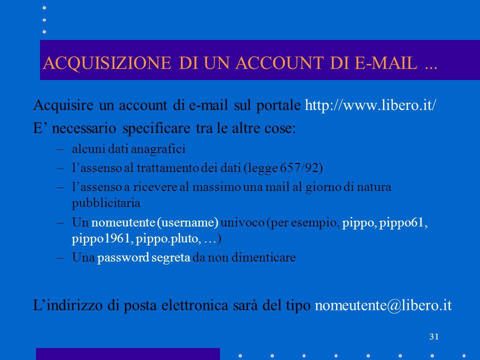 31 ACQUISIZIONE DI UN ACCOUNT DI E-MAIL... Acquisire un account di e-mail sul portale http://www.libero.it/ E' necessario specificare tra le altre cos