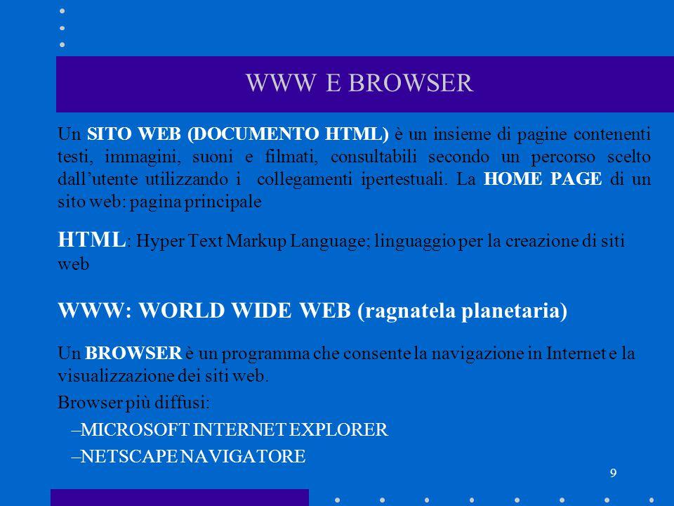 9 WWW E BROWSER Un SITO WEB (DOCUMENTO HTML) è un insieme di pagine contenenti testi, immagini, suoni e filmati, consultabili secondo un percorso scel