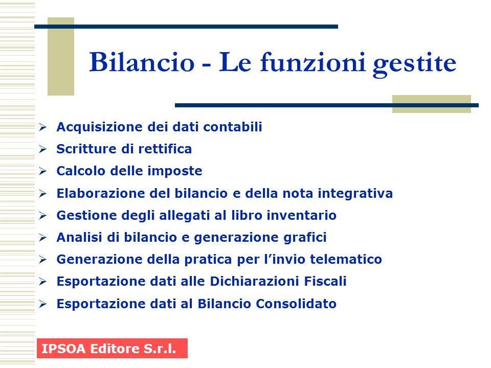 Bilancio - Le funzioni gestite  Acquisizione dei dati contabili  Scritture di rettifica  Calcolo delle imposte  Elaborazione del bilancio e della