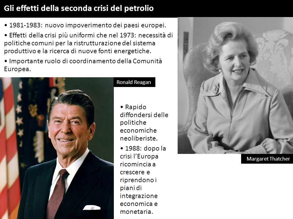 Gli effetti della seconda crisi del petrolio 1981-1983: nuovo impoverimento dei paesi europei. Effetti della crisi più uniformi che nel 1973: necessit